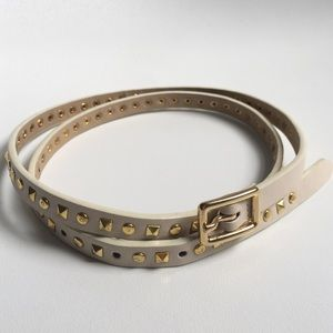 White Leather Belt with Gold Studs